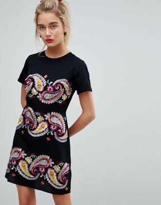 Image 1 of ASOS PREMIUM  Paisley Embroidered Mini Dress