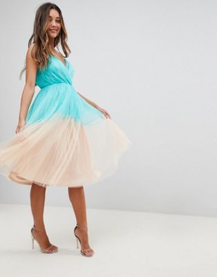 ASOS PREMIUM Pleated Tulle Color Block Midi Dress