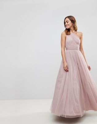 ASOS PREMIUM Tulle One Shoulder Maxi Dress