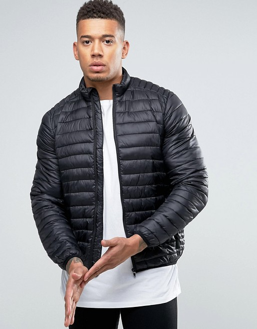 Image 1 of ASOS Quilted Jacket with Funnel Neck in Black