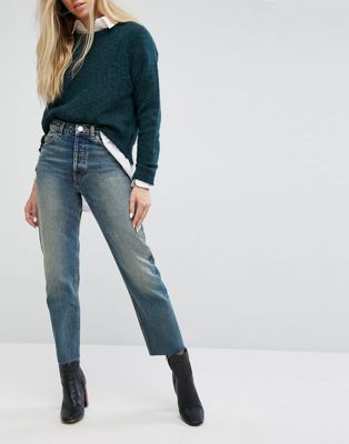 ASOS RECYCLED FLORENCE Authentic Straight Leg Jeans in Melrose Green Cast with Raw Hem