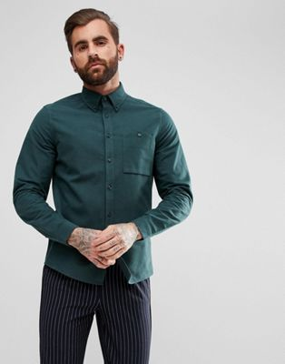 ASOS Regular Fit Moleskin Shirt in Green