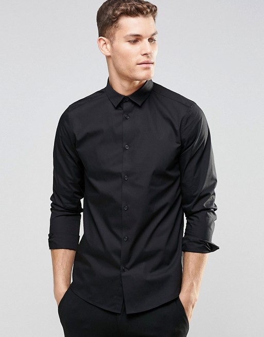 ASOS Regular Fit Shirt With Long Sleeves In Black