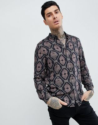 ASOS Regular Fit Viscose Baroque Print Shirt
