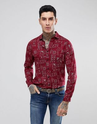 ASOS Regular Fit Viscose Shirt In Aztec Print In Red