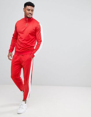 ASOS Retro Tracksuit Half Zip Track Jacket/ Skinny Joggers In Red With White Panels