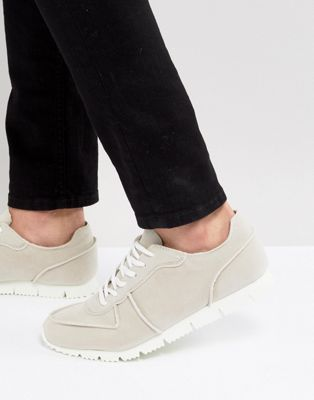 ASOS Retro Trainers In Relaxed Off White Faux Suede