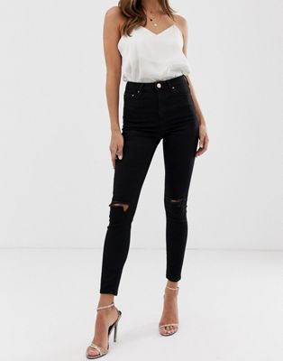 ASOS RIDLEY High Waist Skinny Jean In Clean Black With Ripped Knees