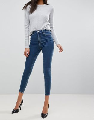 ASOS RIDLEY High Waist Skinny Jeans In Dena Mid Blue Wash