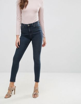 ASOS RIDLEY High Waist Skinny Jeans in Franke Darkwash Blue