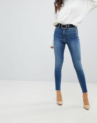 ASOS RIDLEY High Waist Skinny Jeans In Neo Bright Blue Wash