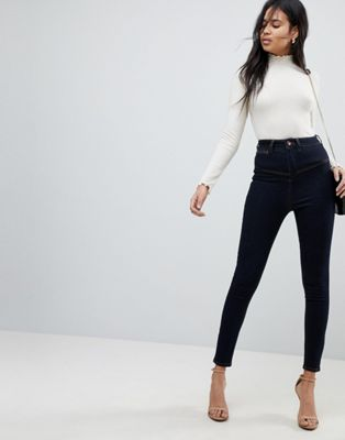 ASOS RIDLEY High Waist Skinny Jeans With Corset Detail in Indigo