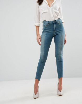 ASOS RIDLEY High Waist Skinny Jeans with Seamed Split Front in Chayne Green Cast