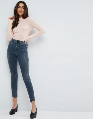 ASOS RIDLEY High Waist Skinny Jeans With Seamed Split Front in Valentine Dark Mottled Wash