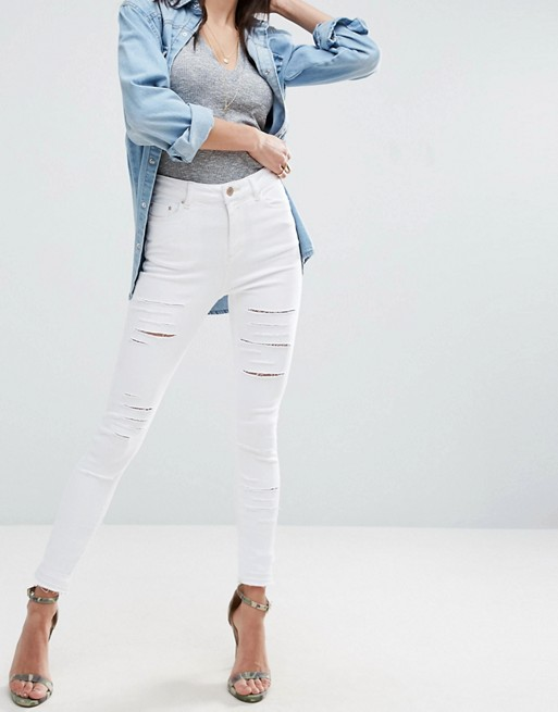 Image 1 of ASOS RIDLEY Skinny Jeans In White with Shredded Rips with Let-Down Hem