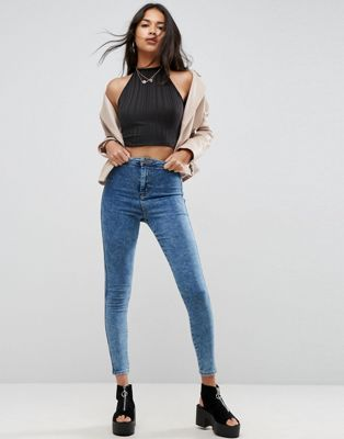 ASOS RIVINGTON High Waist Denim Jeggings in Rumer Dark Wash Blue