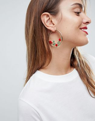ASOS Rose Detail Hoop Earrings