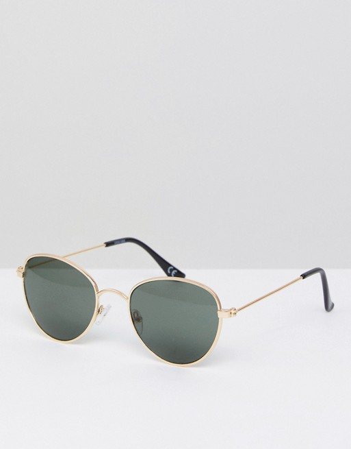 c64802a3d846 ASOS round glasses in gold metal with smoke lens
