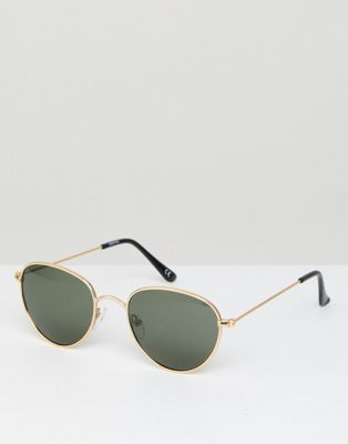 ASOS Round Metal Sunglasses With Polarised Lens