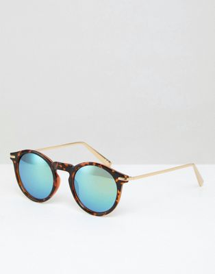 ASOS Round Sunglasses With Metal Arms And Flash Lens In Tort