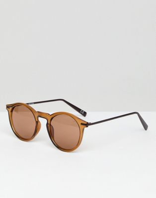 ASOS Round Sunglasses With Metal Arms in Brown