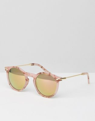ASOS Round Sunglasses With Metal Arms In Pink Marble Transfer And Flash Lens