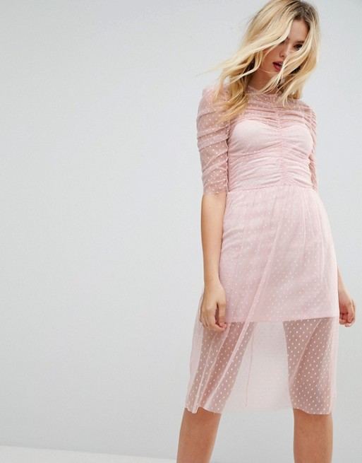 Image 1 of ASOS Ruched Midi Dress In Spot Mesh