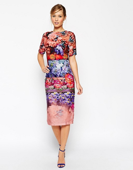 Image 1 of ASOS SALON Beautiful Fading Flower Midi T Shirt Dress