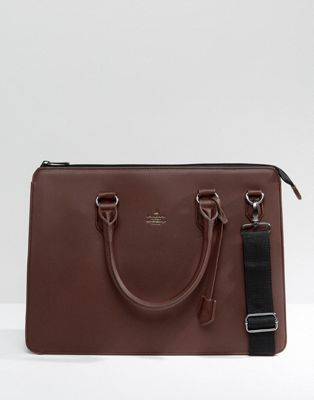 ASOS Satchel In Burg Faux Leather