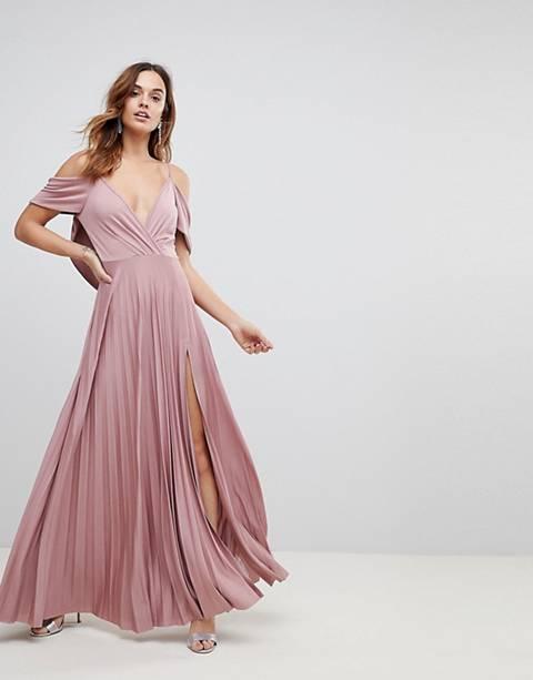 ASOS - Schouderloze geplooide maxi-jurk met gedrapeerde achterkant