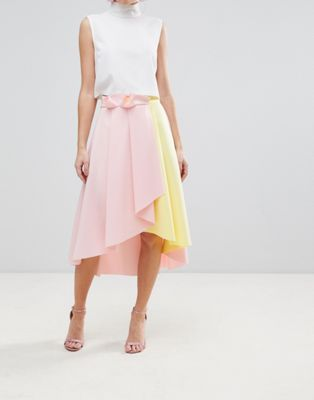 Image 1 of ASOS Scuba Prom Skirt with Wrap and Color Block Detail