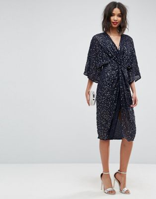 Image 1 of ASOS Sequin Kimono Midi Dress