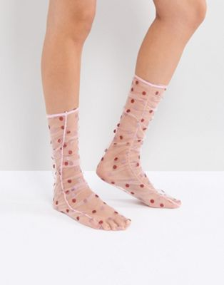 ASOS Sheer Spot Ruched Socks