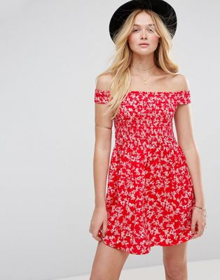 ASOS Shirred Off Shoulder Mini Sundress in Red Floral Print