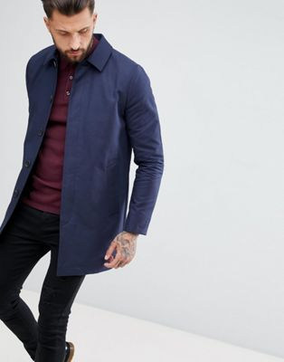 ASOS Shower Resistant Single Breasted Trench In Navy