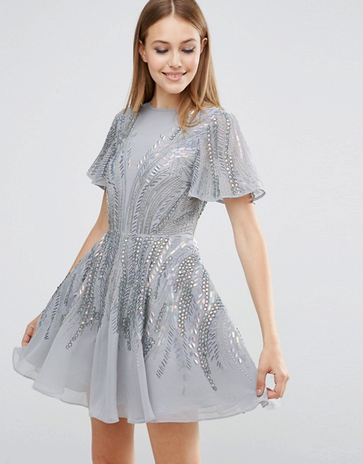 a23dbecc ASOS Silver Sparkle Skater Mini Dress | ASOS
