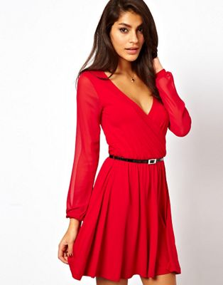 ASOS Skater Dress With Chiffon Sleeves And Belt.