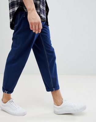Image 1 of ASOS Skater Fit Jeans In Blue With Contrast Stitching