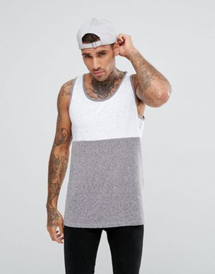 ASOS Skater Vest With Half And Half Colour Block In Textured Fabric
