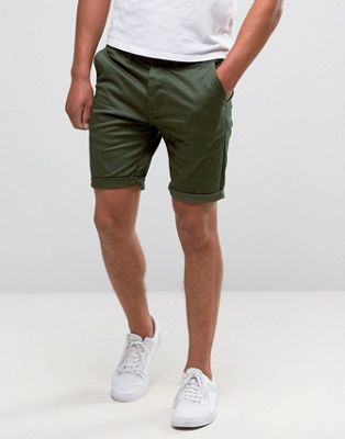 ASOS Skinny Chino Shorts In Forest Green