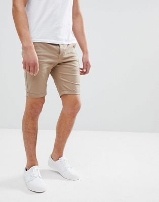 ASOS Skinny Chino Shorts In Stone