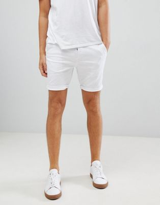 ASOS Skinny Chino Shorts In White