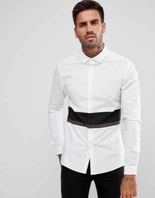 ASOS Skinny Cut And Sew Shirt With Contrast Panels