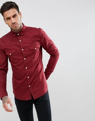 ASOS Skinny Denim Western Shirt In Burgundy