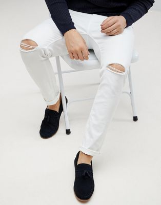 ASOS Skinny Jeans In White With Knee Rips