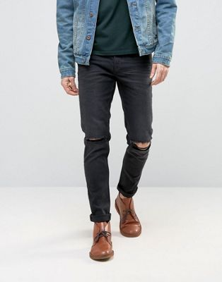 Image 1 of ASOS Skinny Jeans With Rips In 12.5oz Washed Black