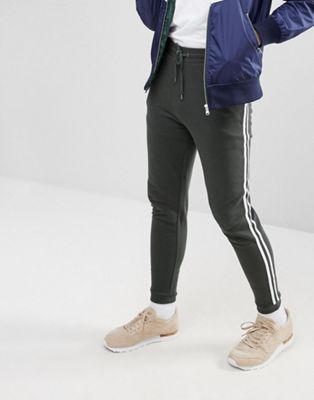 ASOS Skinny Joggers With Side Stripe In Green