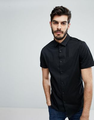 ASOS Skinny Shirt In Black With Short Sleeves