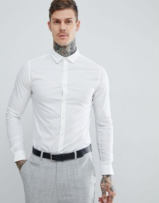 ASOS Skinny Shirt In White With Long Sleeves
