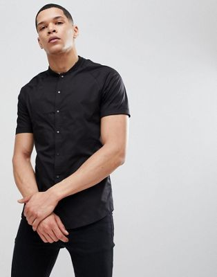 ASOS Skinny Shirt With Baseball Collar In Black